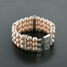 3 Row Dark Rose Bracelet with Princess Cut Crystals | Giavan, Inc.