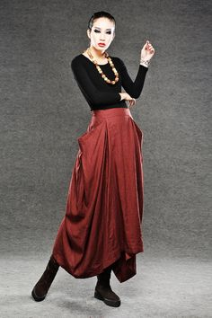 Maxi skirt Long skirt in red  linen skirts by YL1dress on Etsy, $79.99