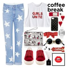 """Coffee Break"" by nvoyce ❤ liked on Polyvore featuring STELLA McCARTNEY, Kate Spade, Anya Hindmarch, RED Valentino, GUESS, Serge Lutens, Marmont Hill, Jayson Home and coffeebreak"