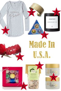 This holiday gift guide includes products made in the USA, like a Happiest Tee, a cuff by Ten 2 Midnight Designs, a candle by Context, a set of organic balms by Badger, the best all-natural bath salts by FarmHouse Fresh, and bath bombs by Fizz and Bubble that look like a box of chocolate. Can't go wrong with any of these!