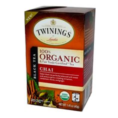 Twinings Tea - 100 Percent Organic - Chai - 20 Bags - Case of 6
