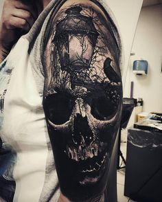 An eye peeks through a dark skull, by Sandry Riffard. (via IG—audeladureeltattoobysandry) Evil Tattoos, Creepy Tattoos, Skeleton Tattoos, Tattoos Skull, Skull Tattoo Design, Badass Tattoos, Tattoo Designs Men, Leg Tattoos, Black Tattoos
