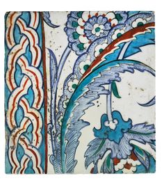An Iznik polychrome pottery tile with lattice border, Turkey, circa 1575 Art Decor, Decoration, Islamic Tiles, Turkish Tiles, Antique Tiles, Clay Tiles, China Painting, Animal Fashion, Tile Art