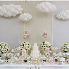 Blush and cream baby shower with clouds and bears