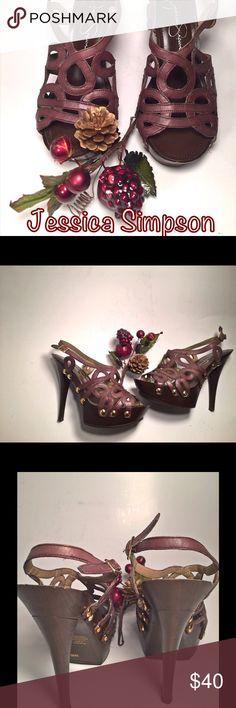 "Jessica Simpson Genaviv Stiletto Heel Sandal Size 5.5 B * Brown Leather Upper * Sophisticated Leather Design * 4.5 "" Stiletto Heel * Side Stud Detailing * Adjustable Slingback Strap * Rubber Sole * Wooden Platform * Great Shoes New Without Tags * Jessica Simpson Shoes Platforms"