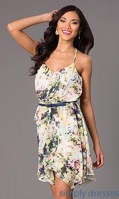 Short Sleeveless V-Neck Print Dress by Speechless at SimplyDresses.com