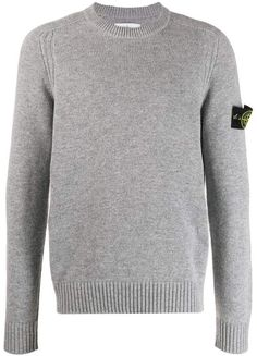 Stone Island Logo Slim-fit Sweater In Grey Stone Island, Sportswear Brand, Grey Sweater, Wool Blend, Work Wear, Street Wear, Menswear, Slim, Pullover