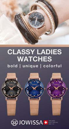 Ladies watches that are classy, elegant, and chic. Rose gold bands complement beautiful black, blue, purple (or white! Add a touch of sparkle to your style with the Swiss Made women's watches by Jowissa. Ladies Watches, Watches For Men, Women's Watches, Mesh Band, Rose Gold Watches, Elegant Watches, Michael Kors Tote, Classy Women, Gold Bands