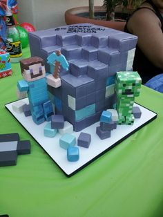 Minecraft Birthday Party cake idea (Love that there is a Mike's Hard Lemonade in the background..)