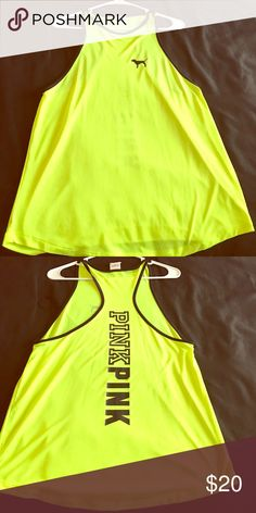 PINK muscle tank Lime Green/black PINK Muscle tank. Worn once PINK Victoria's Secret Tops Tank Tops