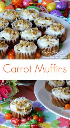 Carrot Muffins are quick and easy to make for Easter or weekend brunch, or anytime snack. Click thru for easy recipe.