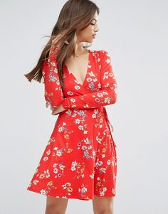 ASOS | ASOS Wrap Tea Dress With Long Sleeves In Red Floral Print