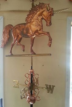 Beautiful Copper 3-d Large Unicorn Weathervane, Complete + Mount
