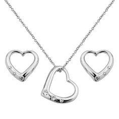 ".925 Sterling Silver CZ Journey Heart Earrings and Matching Pendant-Necklace Set with 1.2mm Cable Rolo Chain - 16""+2"" Inches Extension The World Jewelry Center. $42.95. Special manufacturing process held to ensure less wear, tarnish, and rust.. From our exclusive Shimmering Collection, this item showcases the finest Stainless Steel designs available today!. Promptly Packaged with Free Gift Box and Gift Bag. Save 54%!"