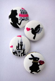 Looking for replacement buttons for pea coat. Alice In Wonderland Fairytale Themed White Japanese Fabric Buttons - Set Of 4 - Silhouette & Cake, Love Bird Heart, Castle, Rabbit Diamond