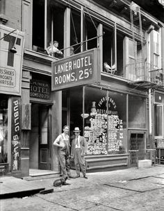 """New York, July, 1921. """"Lanier Hotel -- Rooms 25 cents."""""""