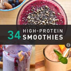 "heyfranhey: Surprisingly Delicious High-Protein Smoothie Recipes ""Not a bodybuilder? Enjoy a protein smoothie anyway! Studies show protein works as a building block for healthy skin, hair, bones,. High Protein Smoothies, Protein Smoothie Recipes, Nutribullet Recipes, Protein Shakes, Smoothies Coffee, Breakfast Smoothies, Yummy Drinks, Healthy Drinks, Healthy Snacks"
