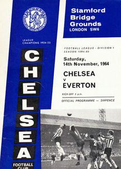 Chelsea 5 Everton 1 in Nov 1964 at Stamford Bridge. Programme cover #Div1