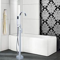 Badewannenarmaturen - Messing - Zeitgenössisch - Bodenstand - Chrom