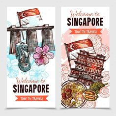 Buy Singapore Sketch Vertical Banners by macrovector on GraphicRiver. Singapore vertical banners in hand drawn style with merlion and marina bay sands images and description welcome to si. Singapore Art, Travel Sketchbook, Travel Illustration, Photo Logo, Japan Art, Travel Scrapbook, Vector Pattern, Chinese Art, Doodle Art