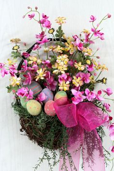 Easter Front Door Basket, Country Basket, Pink & Yellow Daisies, Pink Wild Flowers, Front Door Wreath, Easter Decor -- FREE SHIPPING