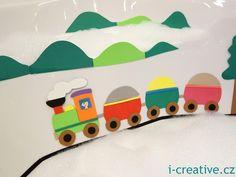 Train from foam moosgummi - for children in the bath / Vlak z pěnovky moosgummi pro děti na hraní ve vaně.
