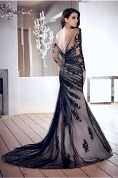 2014 New Arrival Mother Of Bridal Gown Mermaid Scoop V Back Court Train Black Tulle With Applique Under 200