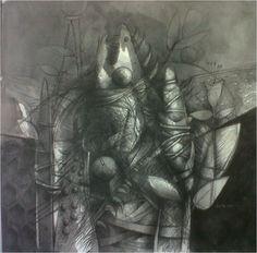 """Jesus Ovalles, """"Grafito sobre lienzo"""", estado Anzoátegui, Galería de Arte Bahía Redonda."""