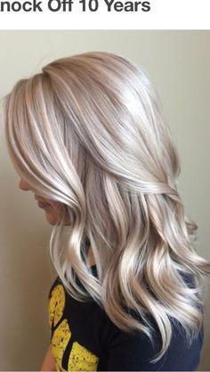 Ash blond rose grey hair