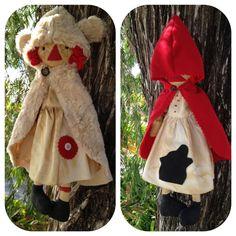 DIY Pattern Little Red Riding Hood and Woodland Raggedy Ann Doll Prim Pattern Set Folk Art