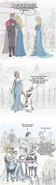 "Elsa and Olaf at a couples cafe. ""Couples cafe"" by Morloth88 on DeviantArt.com."