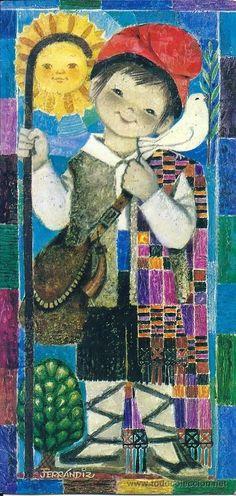 0922B - FERRÁNDIZ - E. 1635.2- EDICIONES SUBI - DIPTICA 22,8X11 CM - DATA 1967 Christmas Manger, Spanish Painters, Sacred Art, Vintage Christmas Cards, Big Eyes, Illustration Art, 1, Scene, Painting
