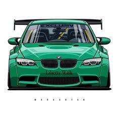 Car Vector, Vector Art, Carros Bmw, Sports Car Wallpaper, Liberty Walk, Bmw E46, E46 M3, Car Illustration, Car Drawings