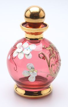 Bohemian Czech Red Perfume Bottle with Enameled Flowers and Gold Design.