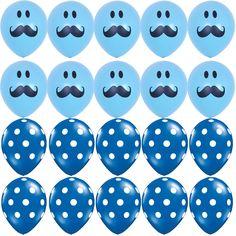 10X Polka Dots 10X Mustache Blue Latex Round Balloons Boy Baby Shower Supplies #Sempertex #BabyShower