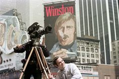 Winston ad witht he smoke. So weird. new york city, spring 1975 film crew, times square part of an archival project, featuring the photographs of nick dewolf Good Advertisements, City Pages, Vintage New York, City Streets, New York City, 1970s, Times Square, Film, News