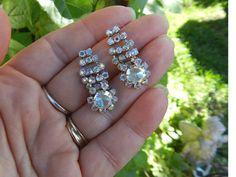 Vintage AB Rhinestone Earrings/Pierced by PegsVintageJewellery