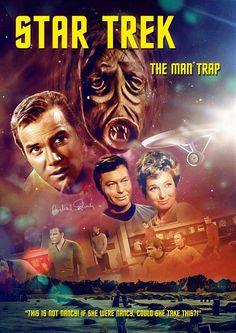 "Star Trek: The Original Series ""The Man Trap"" (First Broadcast: September Star Trek Original Series, Star Trek Series, Tv Series, Star Wars, Star Trek Tos, Akira, Science Fiction, Star Trek Posters, Uss Enterprise Ncc 1701"