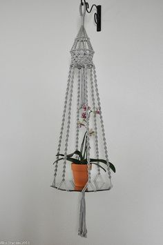 """Hand Crafted Macrame Plant Hanger- Hanging Table- Holder - Silver approx. 57"""""""
