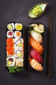Healthy Bento, which is extremely Delucious and Healthy Alternative for Lunch or Dinner. Calufornia Roll. Sashimi. Caviar. Rice. Seaweed. Salmon. Tuna. Avacado.