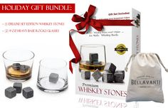 ... Christmas Gift Set - 9 pc Whiskey Stones & 2 Regency Rocks Glasses