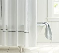 Pearl Embroidered Shower Curtain #potterybarn