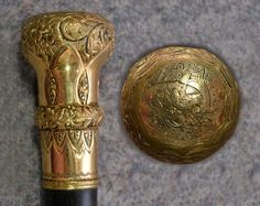 Antique gold cane walking stick Victorian embossed 10 k gold 1800s
