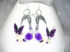Boucles d'oreilles argent 925 Fil d'alu Archange avec perles cristal et fleurs en porcelaine froide