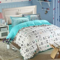 5pcs flowers alphabet letters print bedding set queen size. 100% cotton fabric, high density, super soft material. Worldwide fast Free shipping for all orders