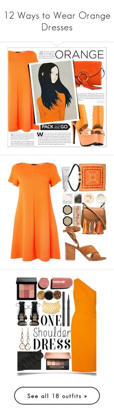 """12 Ways to Wear Orange Dresses"" by polyvore-editorial ❤ liked on Polyvore featuring waystowear, orangedresses, Marella, Privileged, Tory Burch, Packandgo, Versace, Byredo, Gianvito Rossi and Korres"