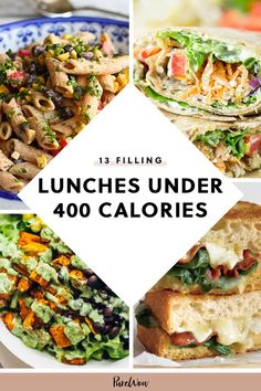 You felt so clever ordering that salad for lunch too bad it clocked in at 870 calories damn you bacon bits here 13 delicious brown bag meals that contain fewer than 400 calories a serving so you can treat yourself to some dessert of course dinnerideas Filling Low Calorie Meals, Low Calorie Meal Plans, Low Calorie Vegan, Healthy Low Calorie Meals, No Calorie Foods, Healthy Meal Prep, Low Calorie Recipes, Healthy Recipes, Healthy Cold Lunches