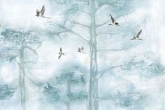 With its fresh shades of powder blue and beautiful watercolor details, our Blue Painted Tree Tops Wall Mural brightens up any room. This wallpaper mural paints a relaxing outdoor scene featuring soaring swallows and misty treetops, which can transform your bedroom into a calming getaway. Pair the Blue Painted Tree Tops Wall Mural with light,... Read more »