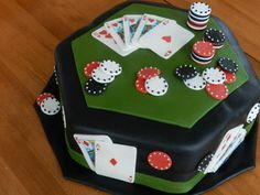 Poker Table Cake with hand painted fondant playing cards using edible ink markers.