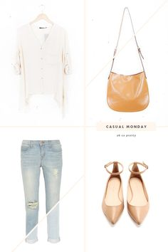 Casual Monday // Light Washed Distressed Jeans, Oversized Blouse & Nude Flats